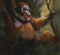 Обои Обезьяны Рисованные Orangutan Животные фото