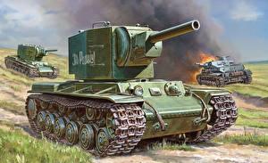 Обои Танки Рисованные KV-2 Армия фото