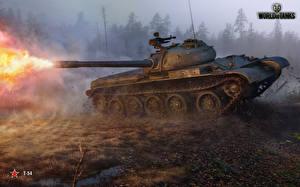 Обои World of Tanks Танки Выстрел t-54 Игры Армия фото