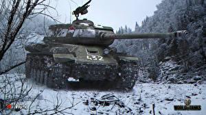 Обои World of Tanks Танки Снег IS-2 Игры фото