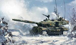 Обои Танки Рисованные Снег Type 99 Армия фото