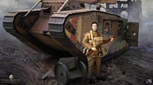 Обои World of Tanks Танки Солдаты Винтовки Nikita Bolyakov Mark Игры фото