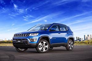 Обои Jeep Небо Синий Металлик 2016 Compass Longitude Latam Автомобили картинки