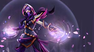 Обои DOTA 2 Templar Assassin Lanaya Воители Эльфы Маски Магия Игры Фэнтези картинки
