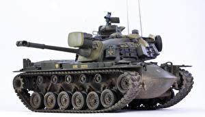 Обои Танки Игрушки Белый фон М48А3 Patton III Армия фото