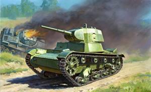 Обои Танки Рисованные T-26M Армия фото