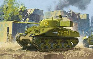 Обои Танки Рисованные Sherman Firefly ww2 Армия фото