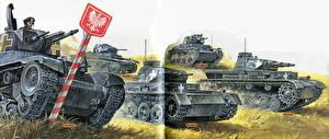 Обои Танки Рисованные Pz.35(t), Pz.IIC, Pz.IIIA, Pz.38(t), Pz.IVB Армия фото