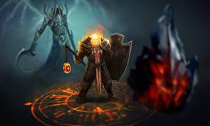 Обои Diablo III Демоны Воители Щит Доспехи Reaper of Souls, Malthael Игры Фэнтези картинки