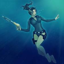 Обои Tomb Raider Underworld Пистолеты Лара Крофт Игры Девушки картинки