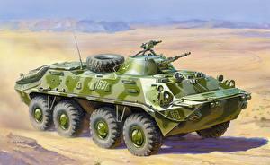 Обои БТР Рисованные BTR-70 Армия картинки