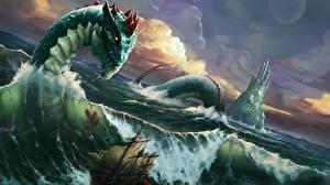 Обои Драконы Корабли Море Волны Фэнтези картинки