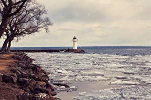 Обои Маяки Море Побережье Лед Природа картинки