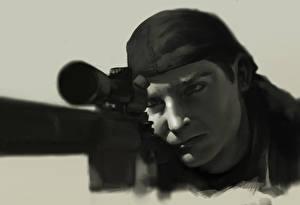 Обои Снайперская винтовка Рисованные Снайперы Лицо Christopher Scott Kyle Армия картинки