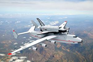 Обои Самолеты Небо Полет Buran Antonov An-225 Mriya Авиация картинки