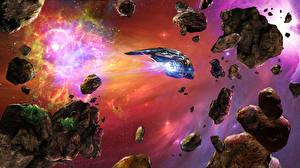 Обои Корабли Астероиды Фэнтези Космос фото