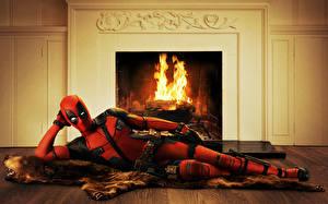 Обои Deadpool герой Герои комиксов Камин Wade Winston Wilson Фэнтези картинки