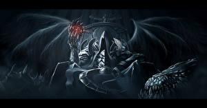 Обои Демоны Diablo III Крылья Трон Reaper of Souls, Malthael Игры Фэнтези картинки