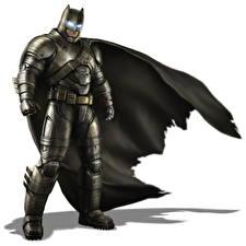 Обои Бэтмен герой Маски Плащ Доспехи Белый фон Batman v Superman: Dawn of Justice Фильмы Фэнтези картинки