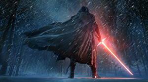 Обои Звёздные войны: Пробуждение Силы Воители Мечи Снег Плащ Kylo Ren Фильмы Фэнтези картинки