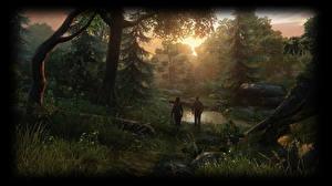 Обои The Last of Us Деревья Ручей Двое Ellie, Joel Игры картинки
