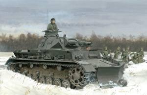 Обои Танки Рисованные Снег Pz.Kpfw. IV Ausf. B Армия фото