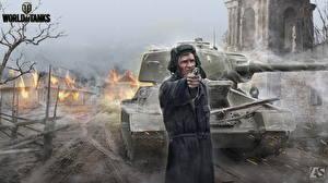 Обои Танки Солдаты World of Tanks Пистолеты  T-34-85 Игры фото