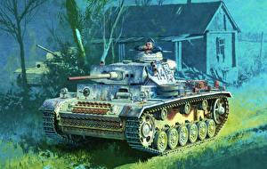 Обои Танки Рисованные Немецкий Panzerkampfwagen III Армия фото