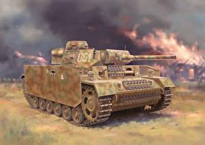 Обои Танки Рисованные Немецкий Pz.Kpfw.III (Fl) Ausf.M w/Schurzen Армия фото