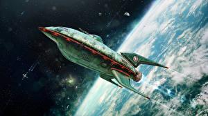 Обои Корабли Поверхность планеты Футурама Взлет Мультики Космос фото