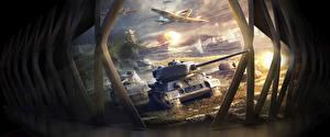 Обои World of Tanks World of Warplanes World Of Warship Танки Корабли Самолеты T-34-85 Игры фото