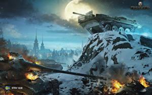 Обои World of Tanks САУ Танки Снег Луна Ночь STRV 103B Игры фото
