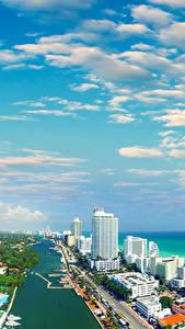 Обои США Дома Побережье Небо Майами Облака Флорида Водный канал