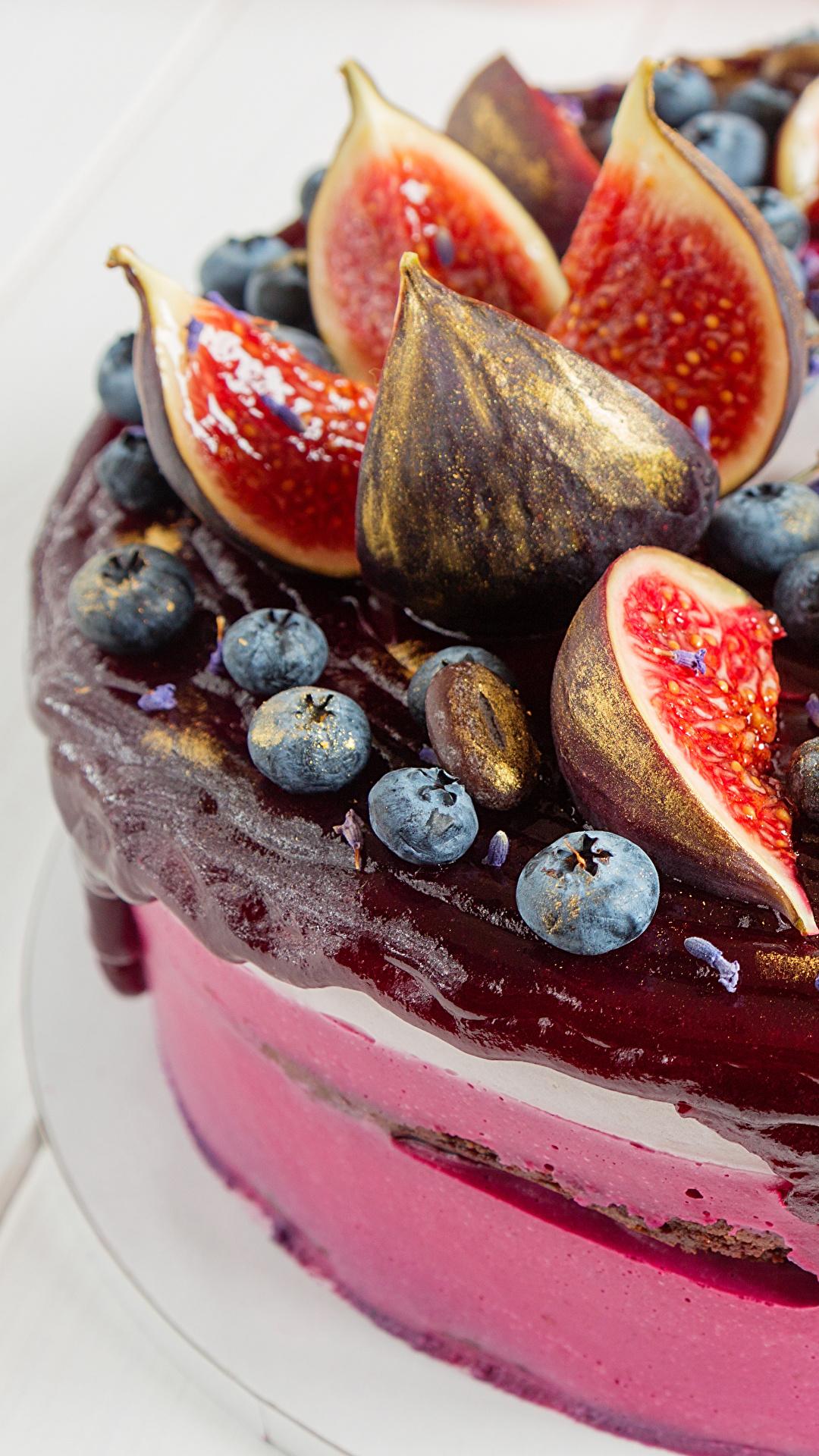 Фотографии Инжир Торты Черника Еда Сладости 1080x1920 для мобильного телефона Пища Продукты питания сладкая еда