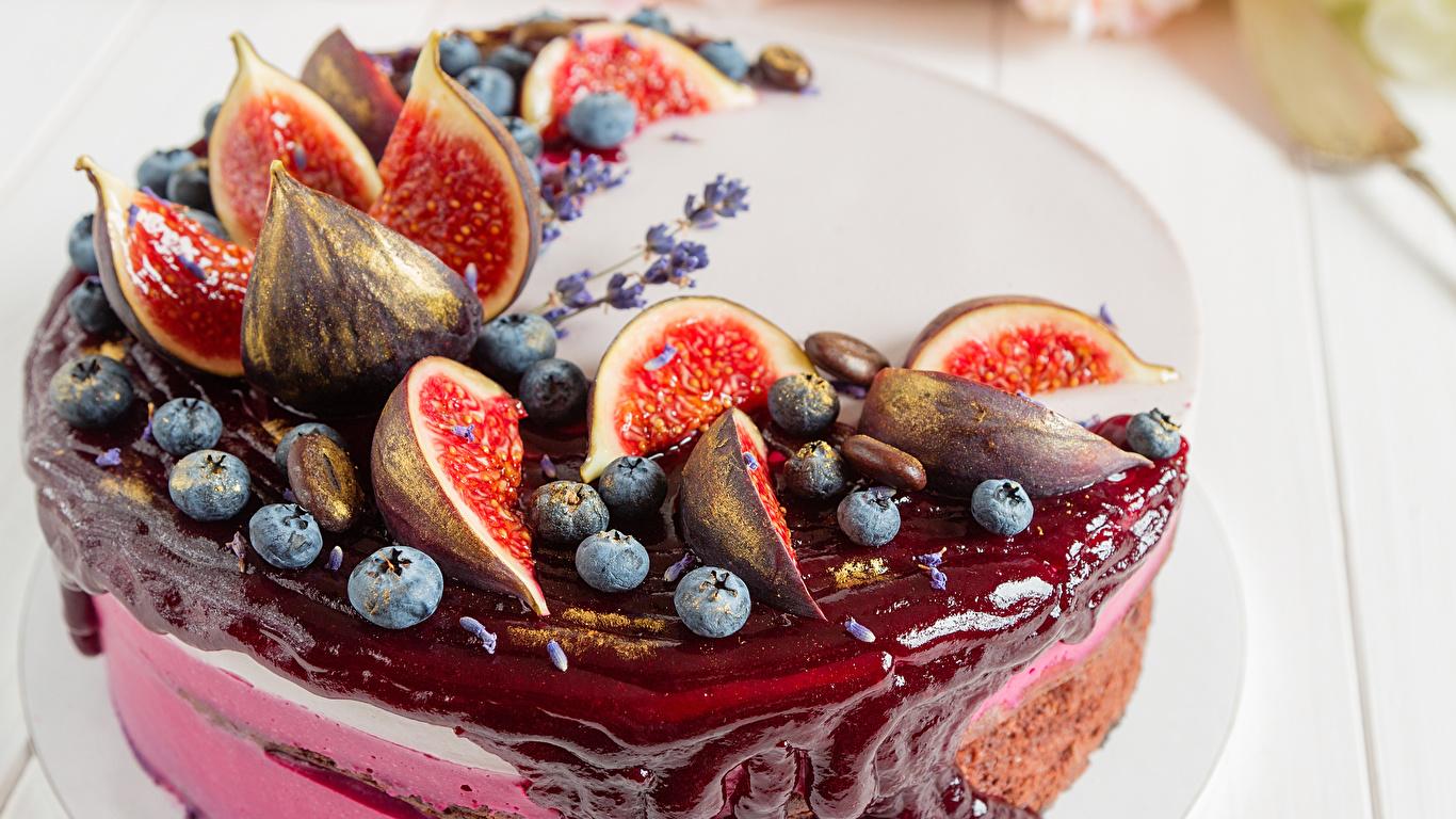 Фотографии Инжир Торты Черника Еда Сладости 1366x768 Пища Продукты питания сладкая еда