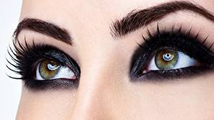 Картинки Глаза Крупным планом Ресница Макро Косметика на лице девушка