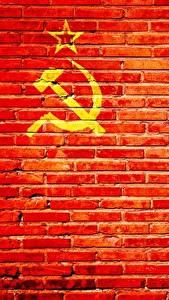 Обои Стенка Из кирпича Красный Серп и молот СССР