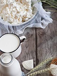 Картинка Творог Молоко Сыры Пшеница Колоски Доски