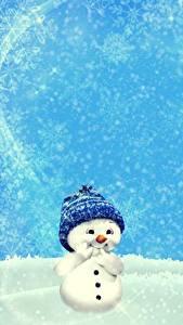Фото Зимние Снег Снеговики Шапки Шаблон поздравительной открытки