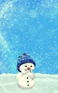 Фото Зима Снеге Снеговик Шапки Шаблон поздравительной открытки