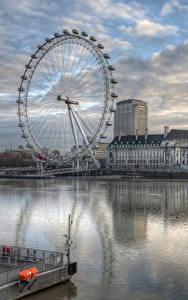Фотография Реки Англия Здания Вечер Колесо обозрения Лондон HDR