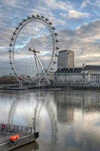 Фотография Реки Англия Здания Вечер Колесо обозрения Лондон HDR Города