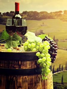 Картинка Италия Тоскана Поля Вино Виноград Бочка Бокалы