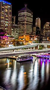 Обои Австралия Здания Реки Пирсы Мосты Брисбен Ночные Города