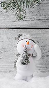 Фотографии Рождество Доски Стенка Снеговик Новогодняя ёлка Снеге