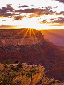Фотография Гранд-Каньон парк США Парки Горы Рассветы и закаты Небо Облака Лучи света