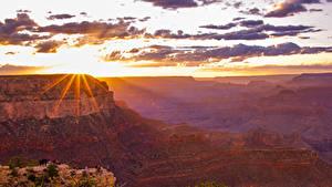 Фотография Гранд-Каньон парк США Парк Гора Рассветы и закаты Небо Облака Лучи света