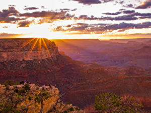Фотография Гранд-Каньон парк США Парк Гора Рассветы и закаты Небо Облака Лучи света Природа