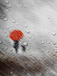 Фото Дождь Капли Силуэт Зонт Стекло