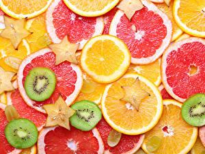 Обои Текстура Цитрусовые Апельсин Грейпфрут Киви Нарезанные продукты Пища
